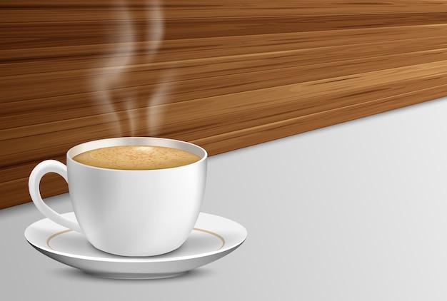 Tasse kaffee mit auf hölzernem hintergrund