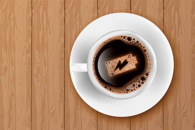 Tasse kaffee mit batterieenergie auf schaum