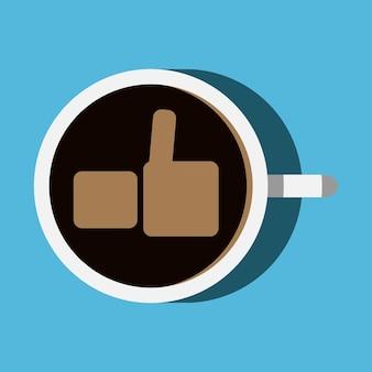 Tasse kaffee mit daumen nach oben symbol auf seiner oberfläche, ansicht von oben. eps 10-vektor-illustration, keine transparenz