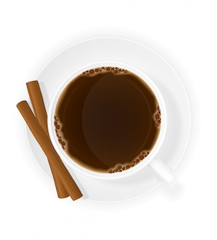 Tasse kaffee mit draufsicht-vektorillustration der zimtstangen