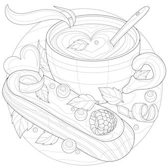 Tasse kaffee mit eclair. leckere süßigkeiten. malbuch antistress für kinder und erwachsene. zen-wirrwarr-stil. schwarz-weiß-zeichnung