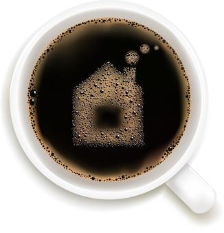 Tasse kaffee mit hausbild, lokalisiert auf weißem hintergrund,