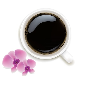 Tasse kaffee mit orchideen isoliert