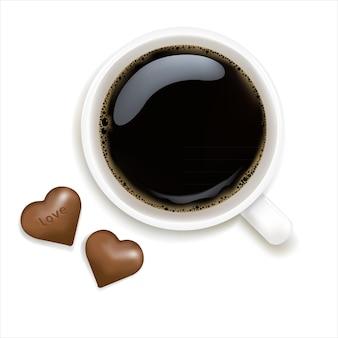 Tasse kaffee mit schokolade isoliert