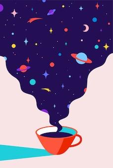 Tasse kaffee mit universumsträumen, planet, sternen, kosmos.