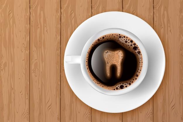 Tasse kaffee mit zahn aus schaum
