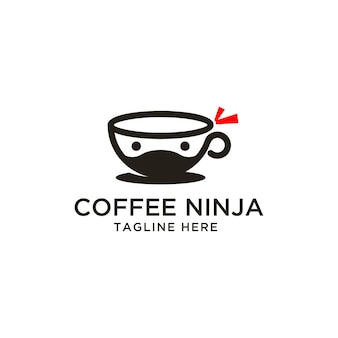 Tasse kaffee ninja logo design inspiration