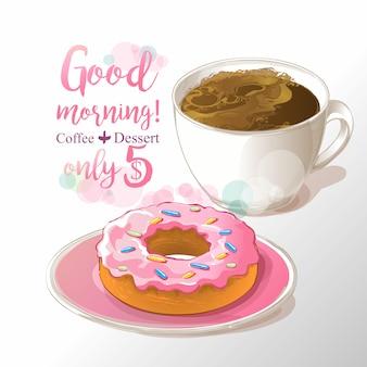 Tasse kaffee- und donutvektorillustration