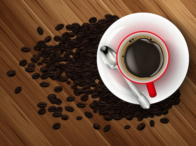 Tasse kaffee und kaffeebohnen auf holztisch