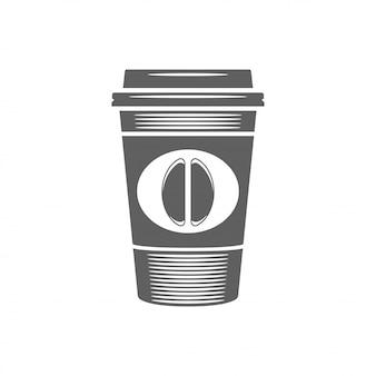 Tasse kaffee zum mitnehmen mit bohnenvektorillustration. kaffeetassenschattenbild lokalisiert auf weißem hintergrund.
