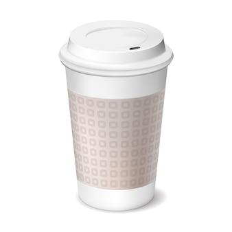 Tasse kaffee zum mitnehmen mit geschlossenem deckel