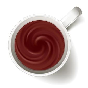 Tasse kakao oder heiße schokolade - ansicht von oben.