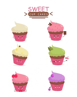 Tasse kuchen symbol animation zeichentrickfigur charakter maskottchen aufkleber bunte süße kindergarten weibliche kinder