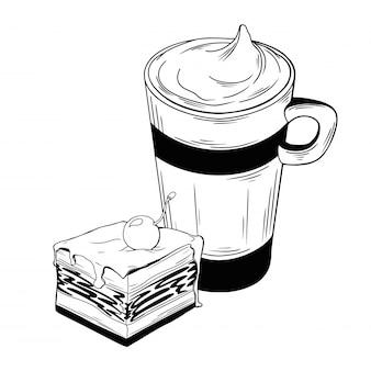 Tasse mit einem getränk und einem stück kuchen. dessert lokalisiert auf weißem hintergrund.