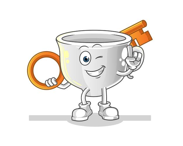 Tasse mit einer schlüsselillustration. charakter