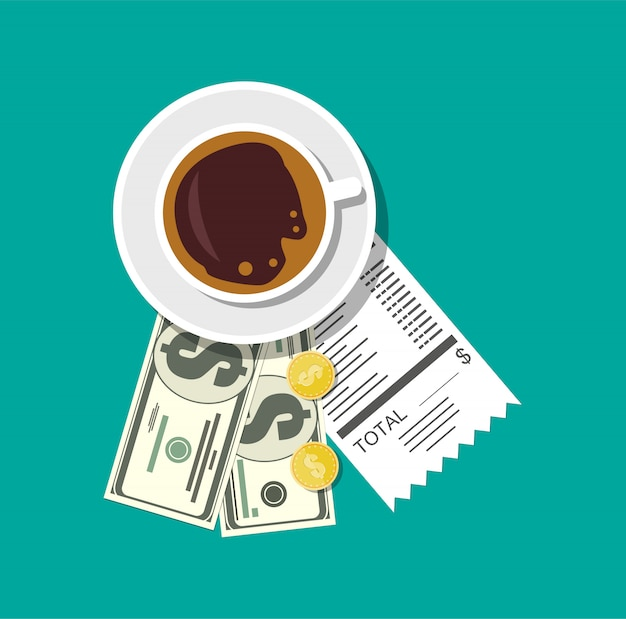 Tasse mit kaffee, bargeld und münzen, bankscheck.