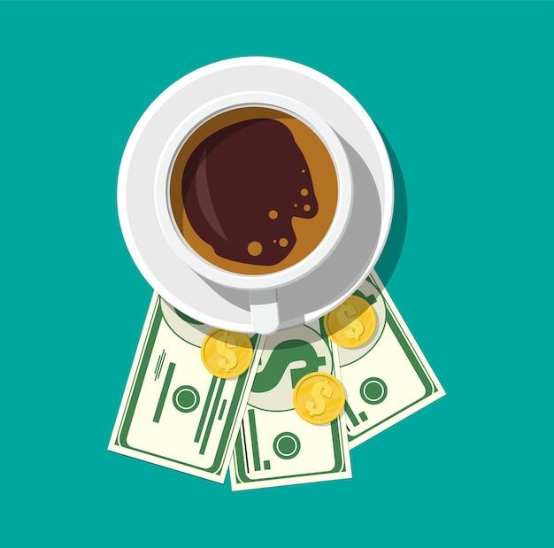 Tasse mit kaffee, bargeld und münzen. danke für den service im restaurant.