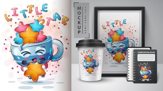 Tasse mit sternplakat und merchandising