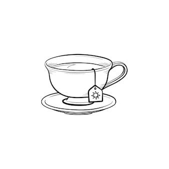 Tasse mit teebeutel handgezeichnete umriss-doodle-symbol. heißes getränk - teetassenvektorskizzenillustration für druck, netz, handy und infografiken lokalisiert auf weißem hintergrund.