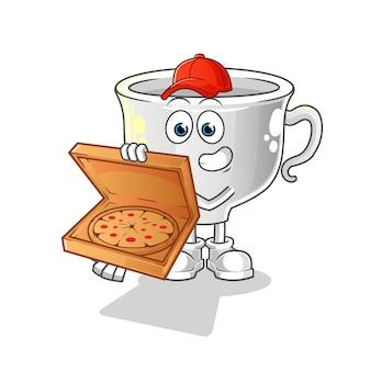 Tasse pizza lieferjunge. zeichentrickfigur