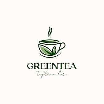 Tasse tee mit grünem blatt grüner tee logo vorlage in weißem hintergrund isoliert