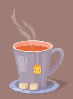 Tasse tee mit zucker auf einem teller