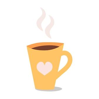 Tasse tee oder kaffee in süßer tasse