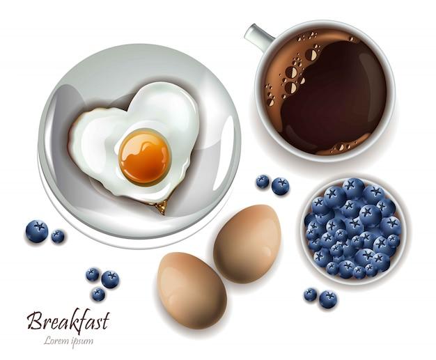 Tasse tee und eier frühstück. vector realistisches planmenü, seite und kochen bücher