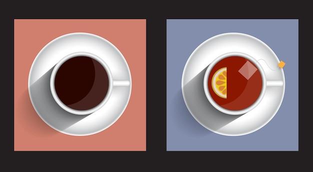 Tasse tee und kaffee mit zwei ikonen mit langem schatten