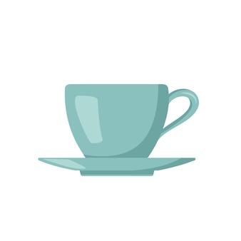 Tasse und untertasse symbol küchenutensilien tee- oder kaffeeartikel blaue tasse flache illustration