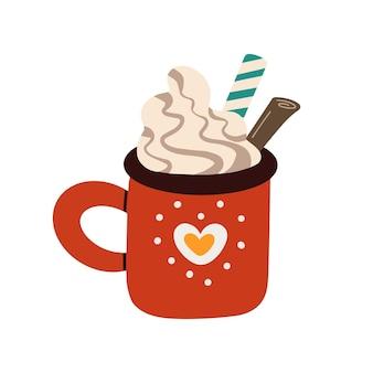 Tasse weihnachtssüßes heißgetränk-vektordesign