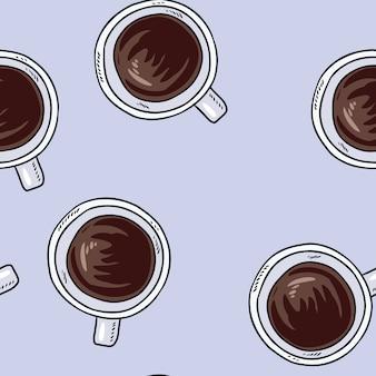 Tassen kaffee. hand gezeichnetes nahtloses muster der netten karikatur.