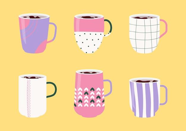 Tassen kaffee oder tee-icon-set. tassen im flachen cartoon-stil mit verschiedenen ornamenten