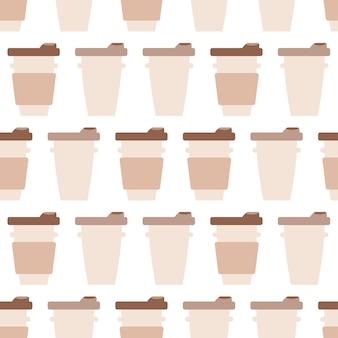 Tassen kaffee zum nahtlosen muster zu gehen. café oder café süßigkeiten hintergrund. leckeres getränk in der tasse. vektorillustration für die gestaltung des menüs für süßwarenladen, süßwarenladen, teeladen
