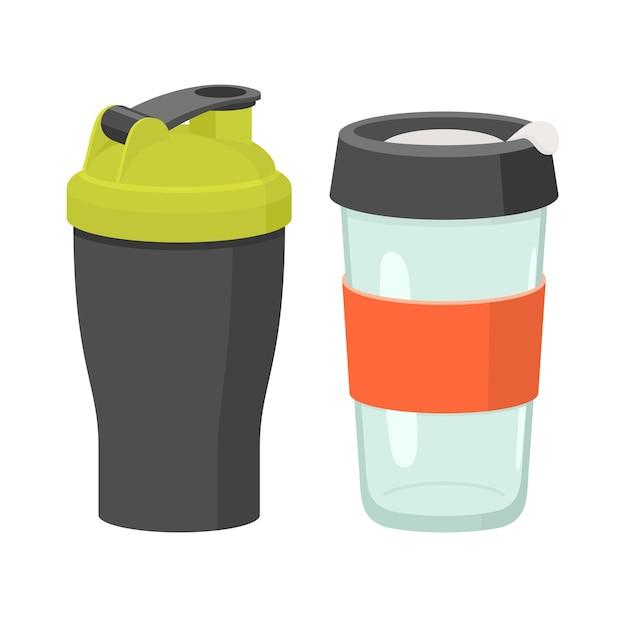 Tassen und trinkgläser eingestellt. flache illustration