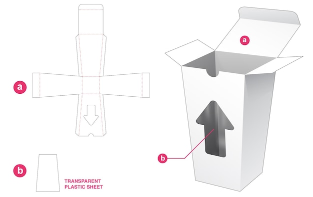 Tassenbox und pfeilfenster mit transparenter plastikfolie stanzschablone