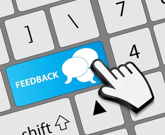 Tastatur-feedback-taste mit maus-hand-cursor-vektor-illustration