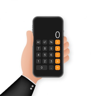 Taste mit schwarzem taschenrechner-smartphone. mobile app-oberfläche. telefonanzeige. handy smartphone gerät gadget. illustration.
