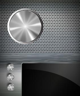 Tasten auf einem metallischen hintergrund mit anzeige