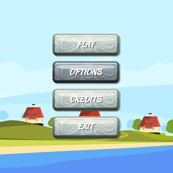 Tasten mit text für spiele Premium Vektoren