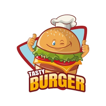 Tasty burger cartoon charakter maskottchen design