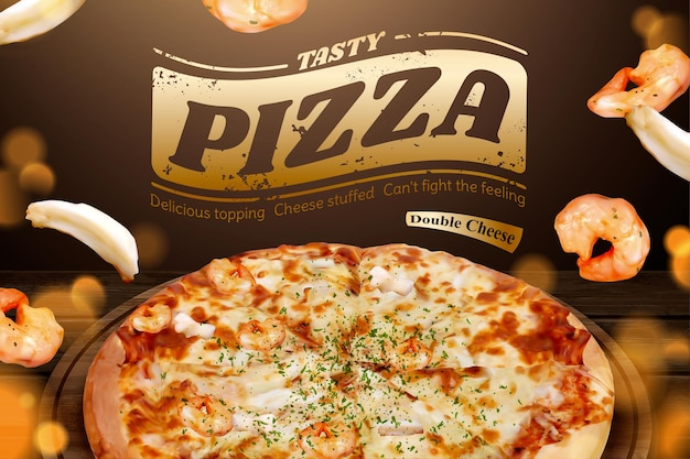 Tasty seafood pizza-anzeigen mit fliegenden garnelen und tintenfischring in der 3d-illustration, hölzerner tischglitterhintergrund