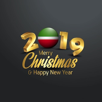 Tatarstan-Markierungsfahne 2019 frohe Weihnacht-Typografie