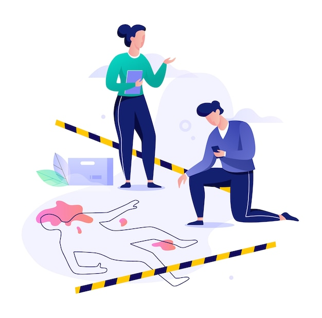 Tatortkonzept. detektiv, der ermittlungen durchführt, polizist. kriminelles geheimnis. illustration mit stil