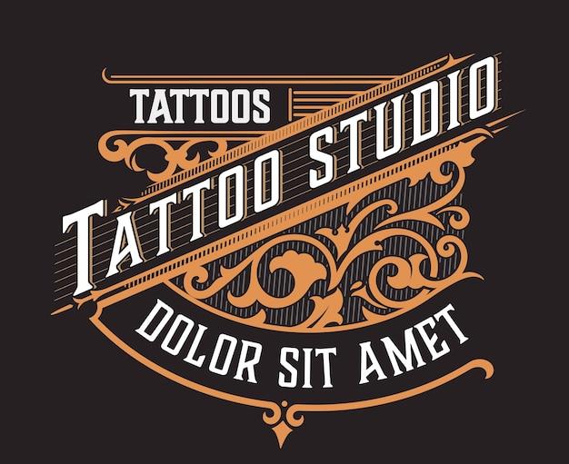 Tatto-logo mit blumenornamenten
