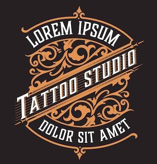 Tatto-logo. vintage-stil mit blumenornamenten