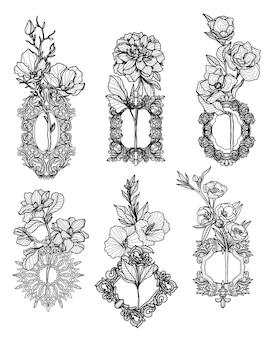 Tattoo blumen handzeichnung skizze schwarz und weiß