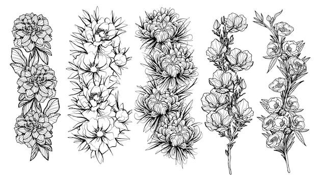 Tattoo blumen kunst handzeichnung skizze schwarz und weiß