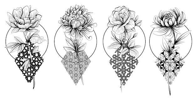 Tattoo blumen set handskizze zeichnung schwarz und weiß