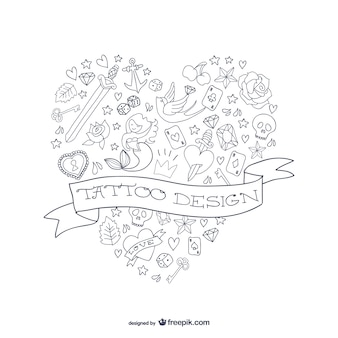 Tattoo-design herzform vektor